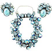 Brilliant Blues Vintage Regency Rhinestone Bracelet & Earrings Set