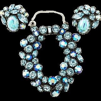 Brilliant Blues Vintage Regency Rhinestone Bracelet & Earrings Set