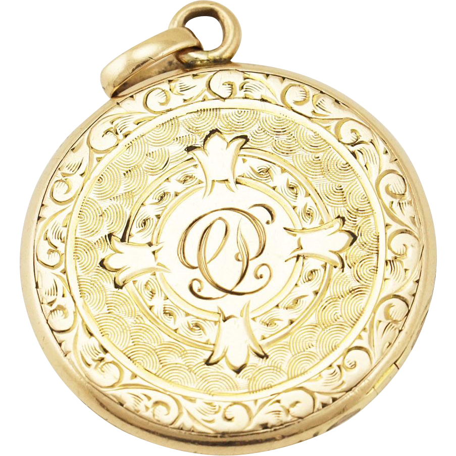 Antique Edwardian Wightman & Hough ¼ Gold Shell Floral Engraved Locket