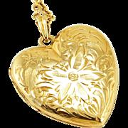 Vintage 14K Gold Floral Engraved Heart Locket