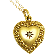 Antique Art Nouveau 14K Gold Scroll Border Heart Locket Pendant with Star Set Pearl