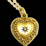 Antique Art Nouveau 14K Gold Scroll Border Heart Locket Pendant with Star Set Pearl
