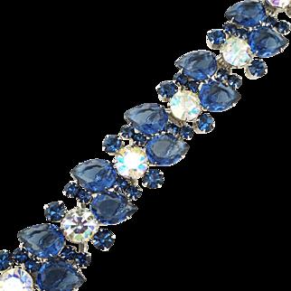 Vintage 1960s Sapphire Blue & AB Rhinestone Juliana Bracelet