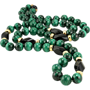 Vintage 1980s 30-Inch 10mm Malachite & Onyx Bead Necklace 14K Gold
