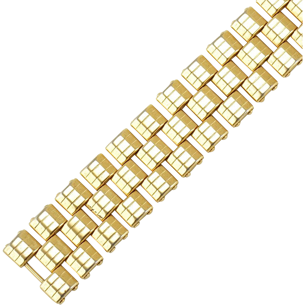 Vintage 1940s Retro Kreisler Gold Tone Articulated Tank Bracelet.