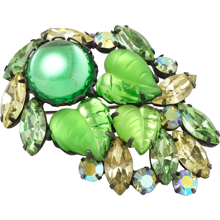 Exceptional Vintage Peridot Green AB Rhinestone Molded Glass Leaves Brooch