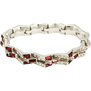 Vintage Unsigned Joseph Mazer Jomaz Escalier Ruby Rhinestone Bracelet