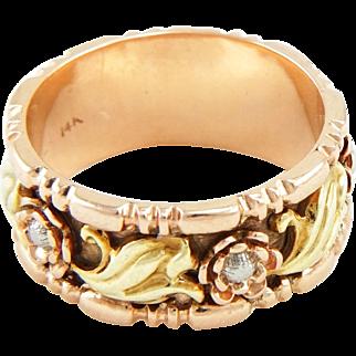 Vintage Retro 1940s 14k Carved Floral Wide Wedding Band Ring