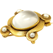 Antique 14K Gold Art  Nouveau Moonstone & Pearl Brooch