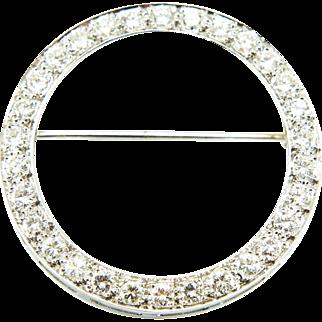 Art Deco 14K White Gold Diamond Circle Eternity Brooch Pin