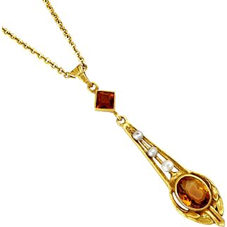 Antique 14K Gold Edwardian Madeira Citrine & Pearl Lavalier Pendant