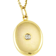 Antique 14K Gold Edwardian Sloan & Co Oval Locket w/ 13 pt Diamond
