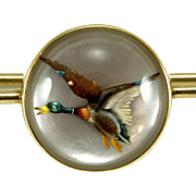 Vintage 14K Marcus & Co. Reverse Carved Mallard Duck Essex Crystal Pin Brooch