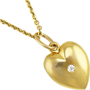 Antique 14K Gold Edwardian Sloan Heart Locket with Diamond