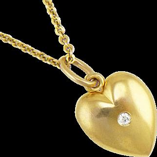 Antique 14K Gold Edwardian Sloan Heart Locket with Diamond