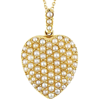 Antique Victorian 14K Pave Seed Pearl Heart Locket Pendant