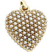 Antique 14K Gold Double Sided Pavé Seed Pearl Puffy Heart Locket Pendant