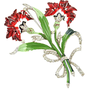 Vintage Large 1940 Enamel & Rhinestone Red Carnation Flower Brooch Pin