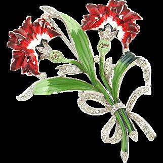 Vintage Large 1940 Enamel & Rhinestone Red Carnation Flower Brooch Pin