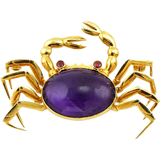 Vintage 14K Gold Amethyst & Rhodolite Garnet Crab Brooch Pin