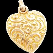 Antique Edwardian 14K Gold Repoussé Heart Locket