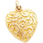 Antique Edwardian 14K Gold Repoussé Heart Locket