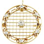 Antique 1912 Edwardian 14K Gold & Diamond Pendant Brooch