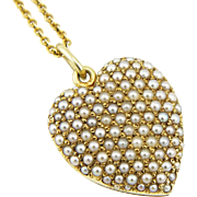 Antique Sloan for Tiffany 14K Gold Pavé Seed Pearl Puffed Heart Locket Necklace