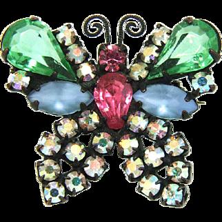 Vintage Weiss Japanned Pastel Rhinestone Butterfly Brooch Pin
