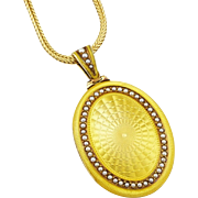 Rare Antique Edwardian 14K Yellow Enamel & Pearl Locket Pendant by Sloan