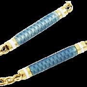 Antique Edwardian 14K Gold Fancy Link Enamel Watch or Locket Chain Necklace