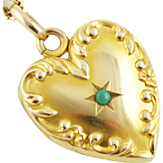 Antique Edwardian 14K Gold Scroll Border Heart Locket Pendant with Turquoise