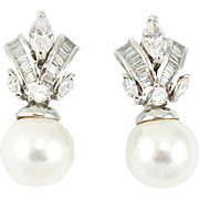 Vintage 90s Glam Sterling CZ and Faux Pearl Pierced Earrings