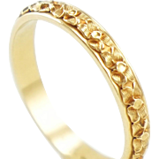 Vintage Art Deco 14K Gold Hand Carved Dogwood Blossom Wedding Band Ring
