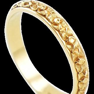 Vintage Art Deco 14K Gold Hand Carved Dogwood Blossom Wedding Band Ring