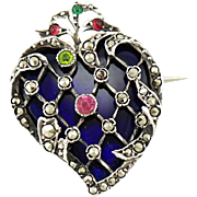 Antique Latticed Paste Marcasite & Cobalt Glass 800 Silver Witch's Heart Brooch