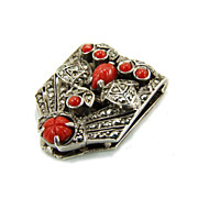 Vintage Art Deco Sterling Fruit Salad Marcasite Clip Brooch