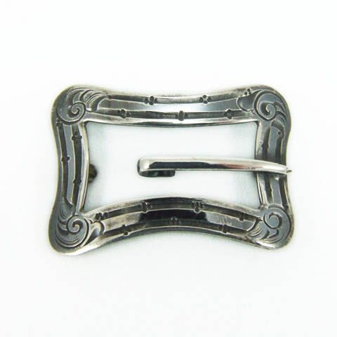 Antique Edwardian Chased Sterling Silver Buckle Brooch Pin