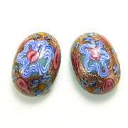 Vintage 1950s Oval Venetian Glass Heavy Icing Wedding Cake Earrings