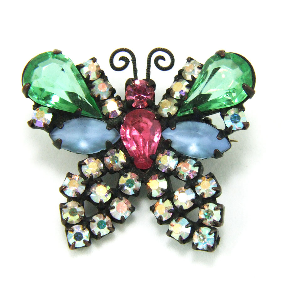 Vintage Weiss Japanned Pastel Rhinestone Butterfly Brooch