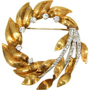 Large Vintage 18K Gold & 1 Carat TW Diamond Wreath Brooch