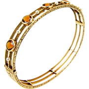 Antique Edwardian 14K Citrine and Pearl Bangle Bracelet