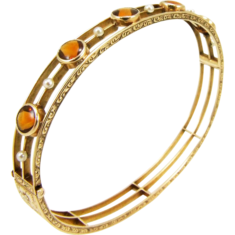Antique Edwardian 14K Citrine and Pearl Bangle Bracelet