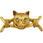 Antique 14K Gold Victorian Archaeological Revival Cat Brooch