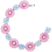 Vintage 1938 Patented Mazer Pastel Fruit Salad Poured Glass Flowers Bracelet