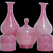 19th Century French Pink Opaline Glass 9 Piece Vanity Set