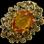 Fancy Vintage Faceted Amber Glass Brooch