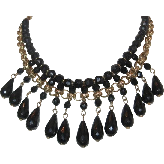 Vintage Black Glass and Gold tone Bib Necklace