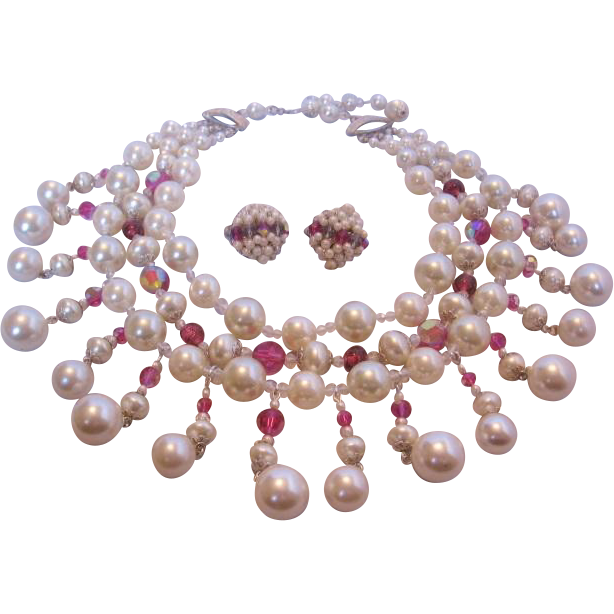 Vintage Huge Vendome Simulated Pearl and Crystal Bib Necklace and Earrings