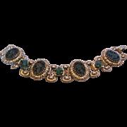 Vintage Black Molded Glass Bracelet with Green Glass Stones